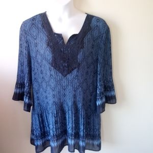 CATHERINES bell sleeve sheer tunic top size 3X